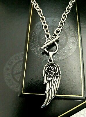 Silver Gothic Biker Steel Feather Angel Wing Chunky Toggle Chain Necklace Xmas • 24.99£