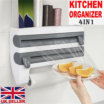 4 In 1 Kitchen Roll Dispenser Cling Film Tin Foil Wall Mounted Towel Holder Rack • 13.19£