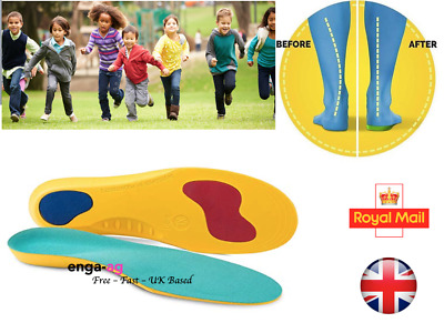 Kids Orthotic Flat Feet Arch Support Shoe Insoles, Plantar Fasciitis, Heel Pain • 4.95£