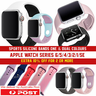 AU8.95 • Buy Apple Watch Band Series 6/5/4/3/2/1/SE, 38 40 42 44mm Sports Silicone Wristband