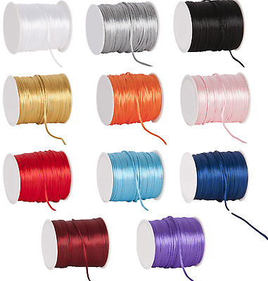 Rattail Cord 2mm X 2, 5 Or 10M Lengths Jewellery Laces Satin Shamballa Kumihimo • 1.30£