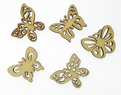 5 X Wooden Butterfly Shape Tag Bauble Craft Blank • 1.99£