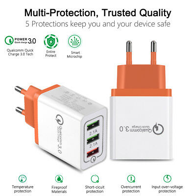 $ CDN5.25 • Buy 3-Port QC 3.0 USB Fast Quick Charge Hub Wall Charger Power Adapter US EU Plug