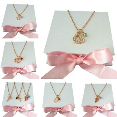 Rose Gold Necklaces With Birthstones. Gift For Sister, Daughter, Mum, Birthday • 9.99£
