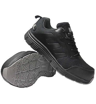Mens Black Ladies  Wide Fit Plastic Toe Cap Safety  Light Weight Trainers  Shoes • 29.95£
