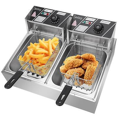 £80.59 • Buy 2x10L Stainless Steel Commercial Twin Double Tanks Electric Deep Fryer Fat Chip