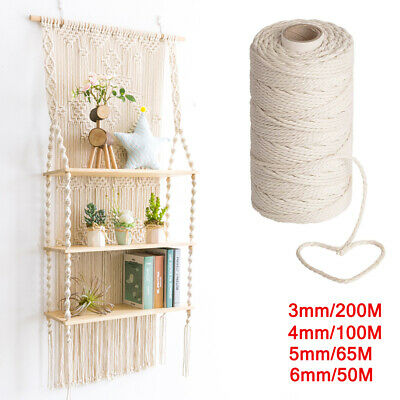 AU14.99 • Buy 3/4/5/6mm Macrame Rope Natural Beige Cotton Twisted Cord Artisan Hand Craft AUS