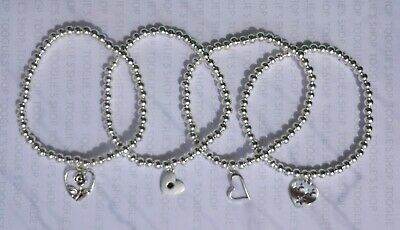 Handmade Silver Plated Stacking Bead Stretch Bracelet With Heart Charm (007) • 2.94£