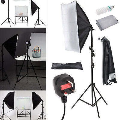Photography Studio Softbox Lighting Soft Box Video Continuous Light Stand Kit UK • 25.99£