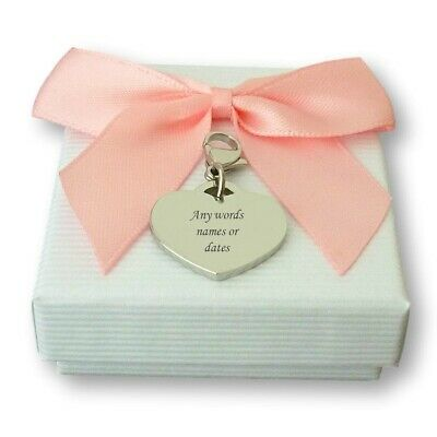 Engraved Heart Charm, Personalised, Very High Quality, Optional Gift Packaging • 9.99£