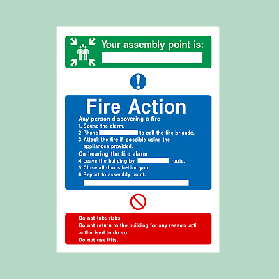 Fire Action Assembly Point Plastic Sign/Sticker - Fire Exit, Escape (FA8) • 1.42£