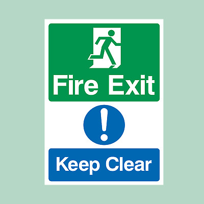 Fire Exit Keep Clear Plastic Sign/Sticker - Fire Exit, Escape (MISC13) • 1.19£