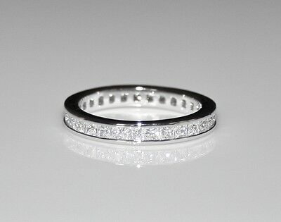 3mm Sterling Silver Princess Cut Cz Cubic Zirconia Eternity Ring (sizes H - V) • 29.99£
