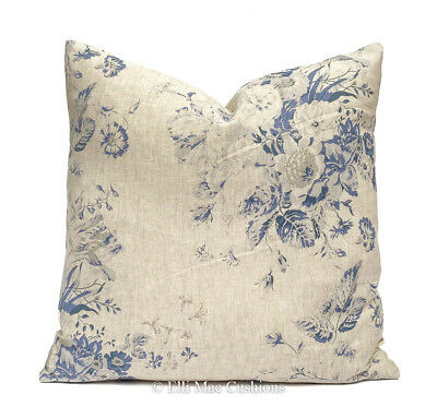 Cabbages And Roses Constance Linen Blue Designer Fabric Cushion Cover • 35.99£