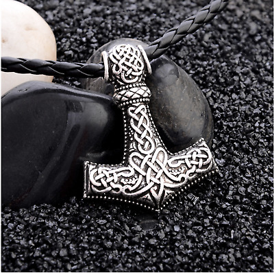 AU14.15 • Buy Viking Thor's Hammer Mjolnir Necklace Pendant Silver Gold Leather Chain Norse