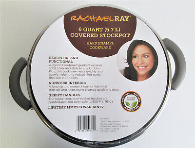 $27.99 • Buy Rachael Ray 6Qt Covered Nonstick Stockpot Color: Gray Gradient - Damaged Lid