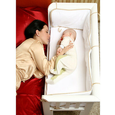 BABY Co Sleeping Crib Bedside Cot Bed Wooden White Next To Me From Birth NEW • 99.99£