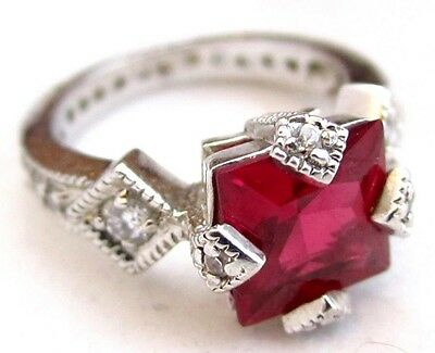Luxury Art Deco Style Princess Cut Red Synthetic Ruby Sterling Silver Ring D755 • 69.06£