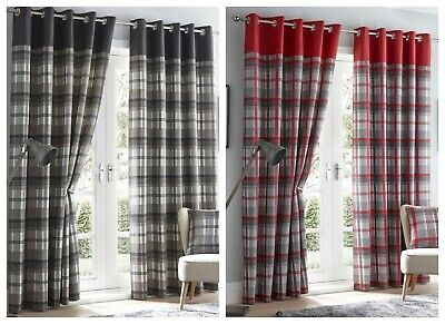 Tartan Check Eyelet Ring Top Lined Curtains OR Cushion Cover - Red / Grey  • 27.99£