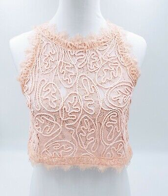 $21.99 • Buy Sans Souci Pink Lace Sheer Crop Top Blouse Sleeveless, Size Large L