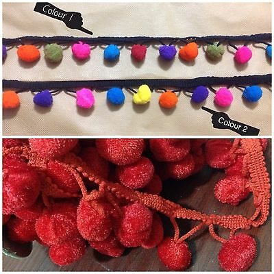 JUMBO Pom Pom Bobble Tassel Rainbow Multi Colour Trim Braid Fringe Ribbon Crafts • 2.69£