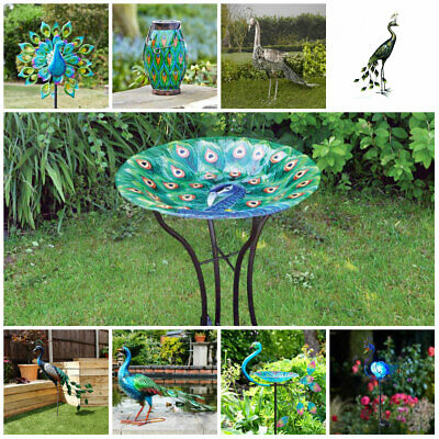 £19.99 • Buy Large Peacock Bird Bath Table Feeder Solar Light Garden Ornament Outdoor Decor