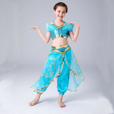 AU24.95 • Buy Girl Costume Aladdin Princess Jasmine Cosplay Outfits Sequin Fancy Dress 3-10yrs