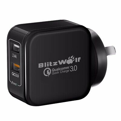 AU BlitzWolf QC3.0 Dual USB Quick Wall Charger Adapter Plug For IPhone Tablet X • 25.37AU