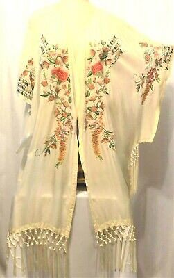 Johnny Was Embroidered Kimono Ivory W/ Annabelle Fringe 100% Cupra Rayon Size 2X • 95$