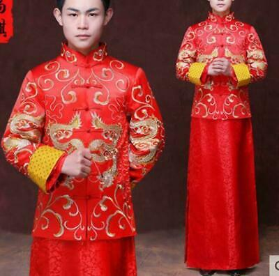 $59.80 • Buy Men Chinese Traditional Embroidery Slim Fit Wedding Coats Red Robes Tang Suits