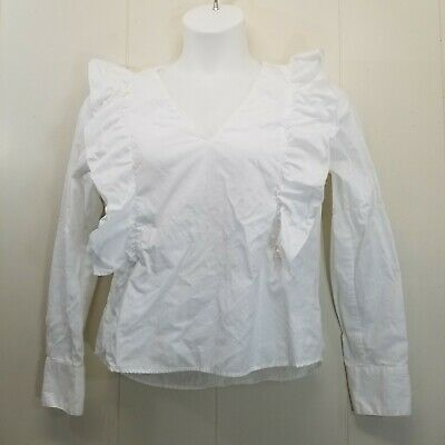 $24.97 • Buy Zara Basic LARGE Shirt Top Blouse White Frills Ruffles V Neck Long Sleeves