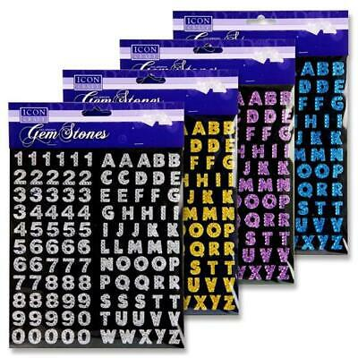 Gem Stones Alphabet Capital Letters & Numbers Sets Self Adhesive Stickers  • 3.20£