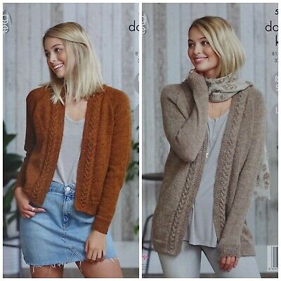 KNITTING PATTERN Ladies Cable Edge Cardigan And Jacket DK King Cole 5018 • 3.95£