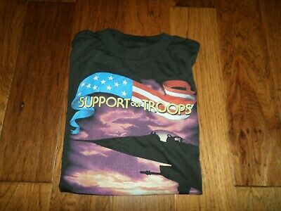 $ CDN69.40 • Buy Vintage U.s Military Gulf War Support Our Troops T-shirt War Zone 1991 3d Emblem