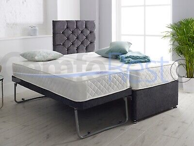 """(Guest Bed) 3FT SINGLE GUEST DIVAN BED 3 IN 1 WITH MATTRESS + 24"""" IBEX Headboard • 279£"""