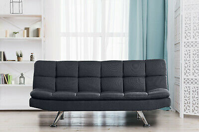 Padded 3 Seater  Sofa Bed Fabric 3 Seater  Suite Chrome Legs Cube Design • 159.99£