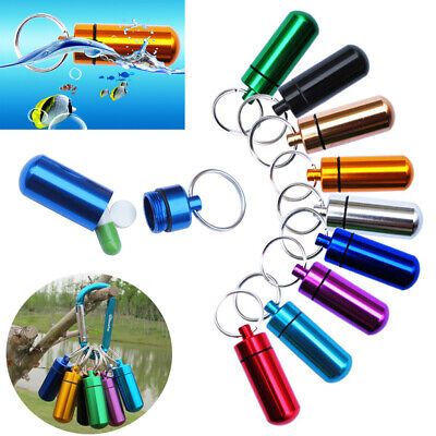 $1.89 • Buy Waterproof Aluminum Medicine Pill Box Case Bottle Holder Container Keychain SS