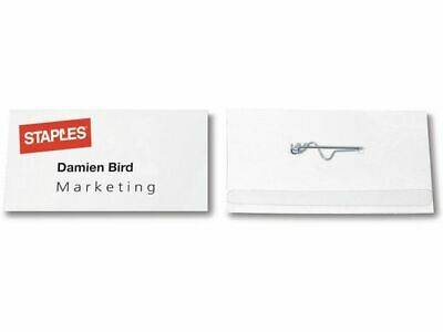 100 Staples Self Laminating Visitor Name ID Badges With Pin / Clip 5 Sizes - 24h • 11.79£