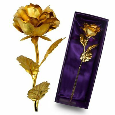 AU18.13 • Buy Gold Plated Real Rose 24K Dipped Flower Valentine's Day Love Gift For Her Decor