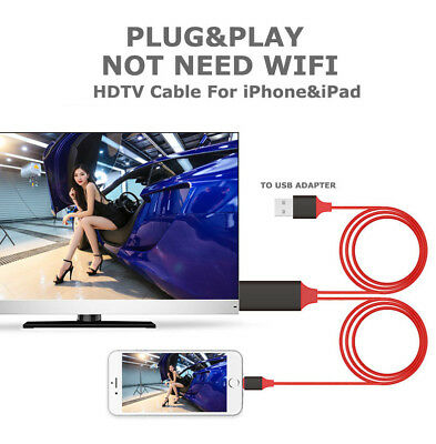 AU23.49 • Buy 2M 8Pin HDTV MHL To USB HDMI Adapter Cable Cord For IPhone 5 5s 6 6s 7 8 Plus X