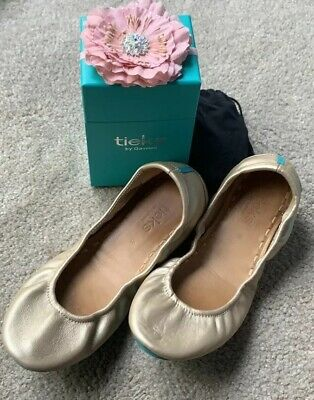 $ CDN329.15 • Buy Tieks Champagne Metallic Leather Ballet Flats Size 8 Box Bag Flower Authentic