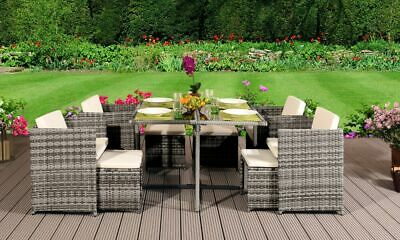 9 11 13 Piece Low Back Rattan Garden Cube Set Chairs Sofa Table Outdoor Patio • 999.99£