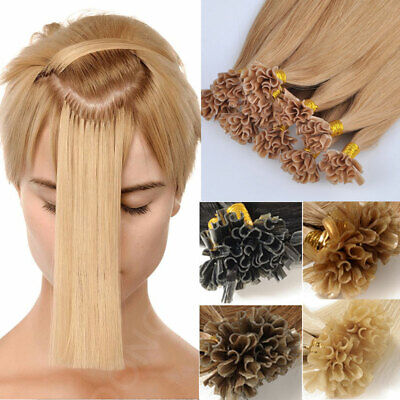 Pre Bonded Nail U Tip Keratin Remy Human Hair Extensions 1G 16 -24  Ombre Brown • 22.50$