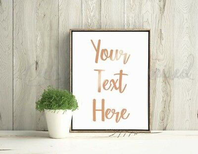 A4 / A5 Rose Gold REAL Foil Prints Customised Wall Sign Any Text Wedding Home • 6.19£