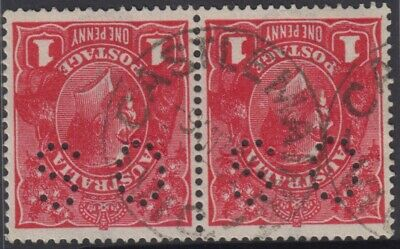 AU18 • Buy Postmark Castlemaine Victoria Australia Pair 1d Red KGV Perf O.S Stamps Nice