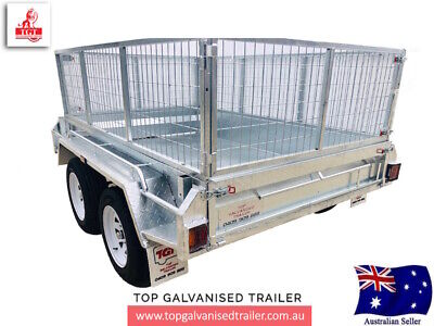 AU3620 • Buy 8x5 TANDEM GALVANISED TRAILER FREE 600MM CAGE ATM 2000KG NEW TYRES BOX TRAILER