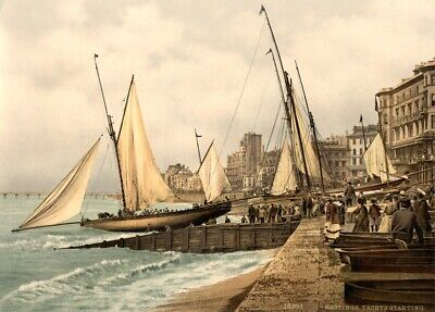 £6.99 • Buy Yachts Starting, Hastings, Sussex, 1890's, Vintage English Photography Poster