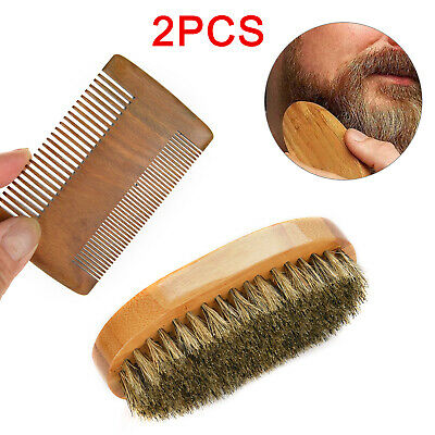 Gents Mens Boar Bristle Shaving Moustache Beard Brush And Comb Set Kit Wooden • 6.49£