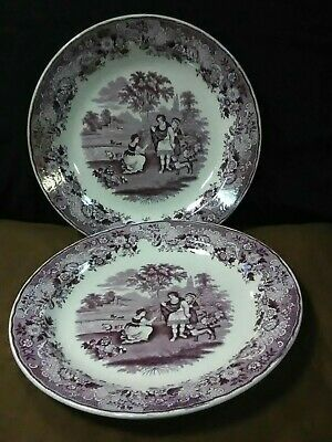 $89.95 • Buy (2)Rare Antique Maastricht Petrus & Regout  Ruth & Boaz Magenta Chargers,Holland