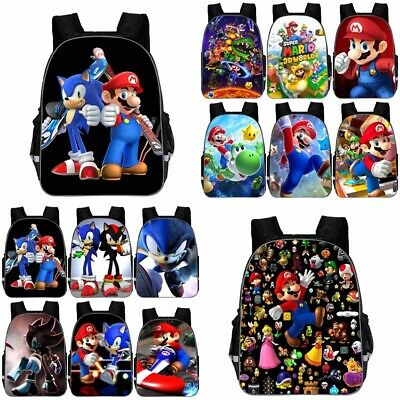 Sonic The Hedgehog Super Mario Backpack School Insulated Lunch Bag Kid 11,13,16 • 9.99£